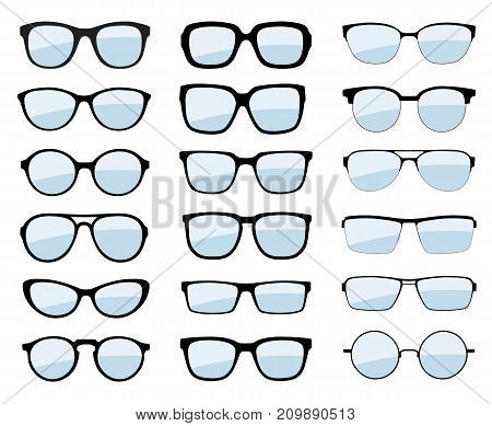 A set of glasses isolated. Vector glasses model icons. Sunglasses glasses isolated on white background. Various shapes - stock vector.