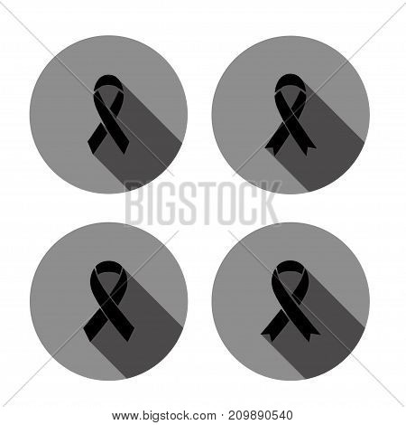 vector of Mourning sign icon with long shadow