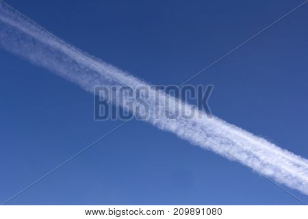 trace of the plane in the sky.