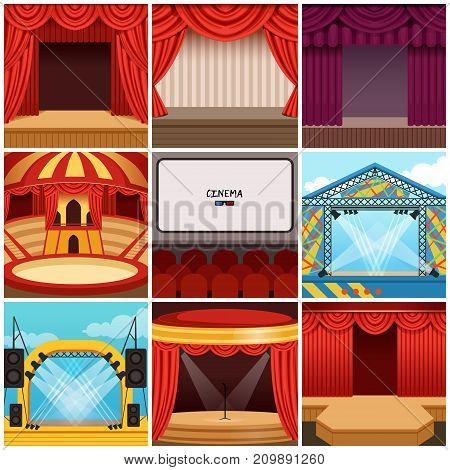 Different colorful stages set circus, theater, concert hall, cinema, podium and open air festival. Hall equipped with lights, appliances, scarlet theater drapery, pelmets. Cartoon vector backgrounds
