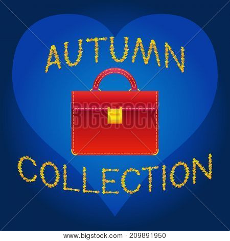 Red ladys bag autumn collection vector concept illustration