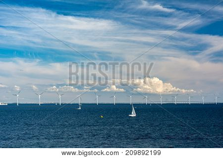 Middelgrunden is an offshore wind farm at 3.5 km outside Copenhagen Denmark. When it was built in 2000 it was the world's largest offshore farm with 20 turbines (2 MW Bonus each) and a capacity of 40 MW. The farm delivers about 4% of the power for Copenha