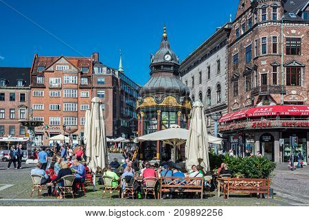 Copenhagen Denmark - september 3 2017: Nytorv (New Square) is a public square in the centre of Copenhagen. The square is dominated by the imposing Neoclassical facade of the Copenhagen Court House which from 1815-1905 also served as the City Hall.