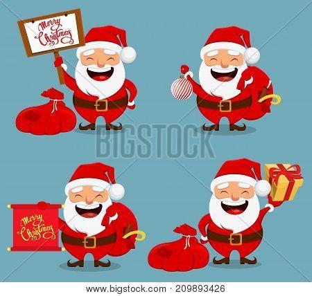 Christmas Santa Claus funny cartoon character. Smiling Santa holding bag with presents. Set of four vector illustrations.