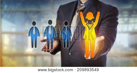 Unrecognizable employer championing a winning female employee over a group of three male candidates. Human resources metaphor for career success gender gap equal opportunity and talent acquisition.