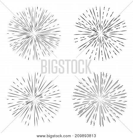 Star burst set design element on white background