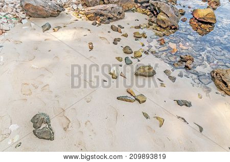 Natural background with beach and stones close