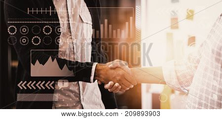 Light with a white background against businessmen having a handshake