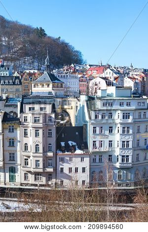 Karlovy Vary, Czech Republic - February 15, 2017: Karlovy Vary aerial vertical famous spa town view, Czech Republic