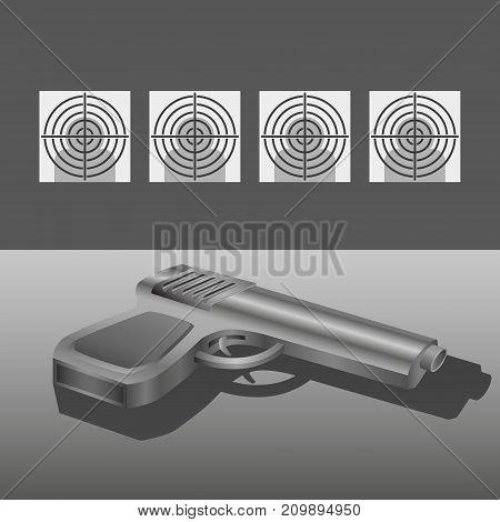 Shooting range with gun vector dark concept illustration