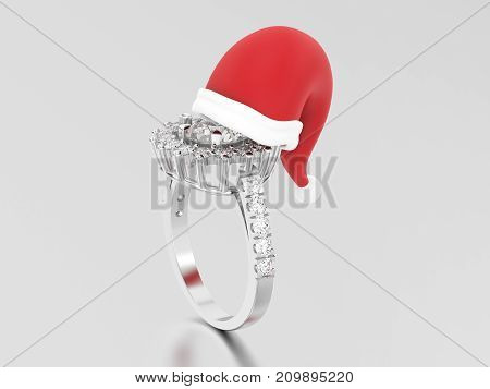 3D illustration white gold or silver solitaire decorative diamond ring in the Christmas Santa Claus hat on a grey background