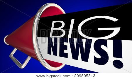 Big News Announcement Important Update Megaphone Bullhorn 3d Illustration