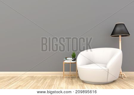Minimal living room interior with white fabric armchair, cabinet, and plants on empty wall background.3d rendering.
