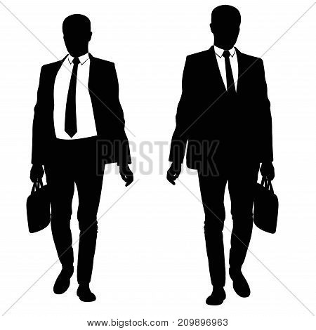 Silhouette of a walking man in a suit and tie - vector