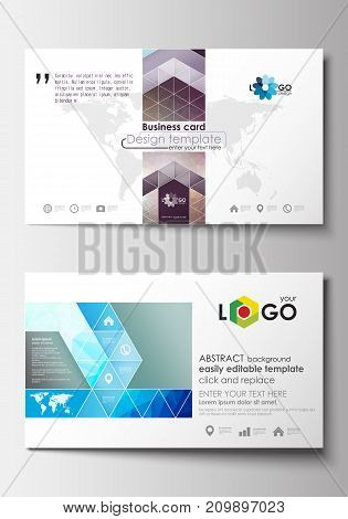 Business card templates. Cover design template, easy editable blank, abstract flat layout. Abstract triangles, blue triangular background, colorful polygonal pattern.