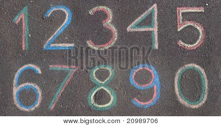 Numbers Drawn On Asphalt With Chalk