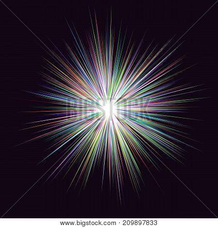Abstract multicolored explosion design on black background - vector graphic