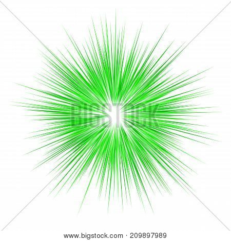 Green abstract explosion graphic design on white background