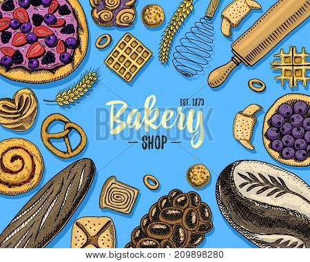 bread and pastry donut long loaf and fruit pie. sweet bun or croissant, muffin and toasts. engraved hand drawn in old sketch and vintage style for label and menu bakery shop. organic food background