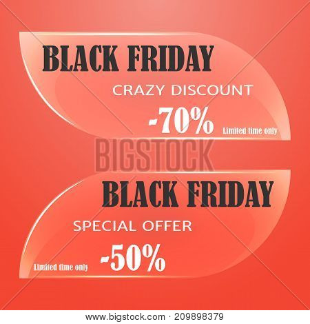 Glass sale tag, badges, labels or banner for Black Friday on red background. Vector illustration. Holiday Collection.