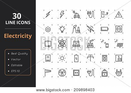 30 Line Energy icons. Icons for user interface