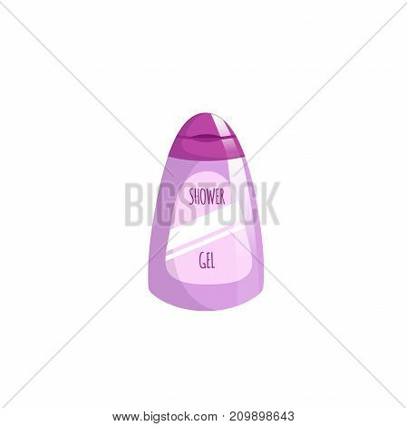Cartoon trendy design pink container with liquid soap icon. Shower gel. Hygiene and body care vector illustration.