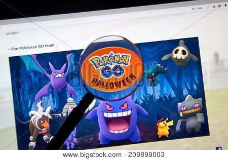 MONTREAL CANADA - OCTOBER 20 2017: Pokemon Go Home page introducing new creatures for Halloween. Pokemon Go is a free-to-play location-based augmented reality game developed by Niantic