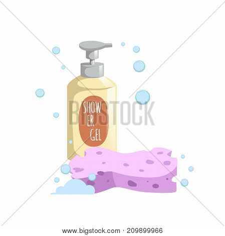 Cartoon trendy design yellow bottle with dispenser and pink bath sponge icon. Shower gel with foam bubbles vector illustration.