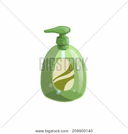 Trendy cartoon style green liquid soap bottle with dispenser and bubbles. Hygiene and health care vector illustration.