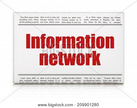 Information concept: newspaper headline Information Network on White background, 3D rendering