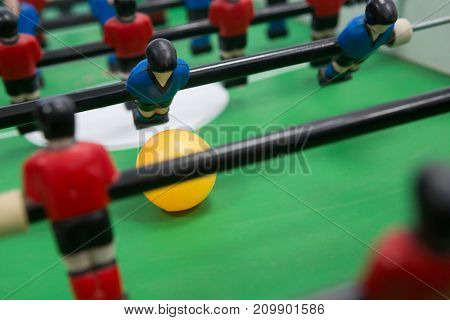 Close-up of table soccer game