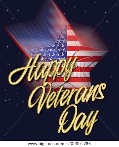 Happy Veterans Day, Falling Star, 3D Illustration, Honoring all who served, American holiday template.
