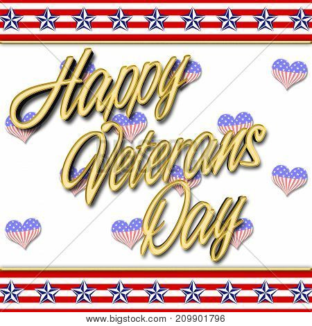 Happy Veterans Day, Heart shape, 3D Illustration, Honoring all who served, American holiday template.