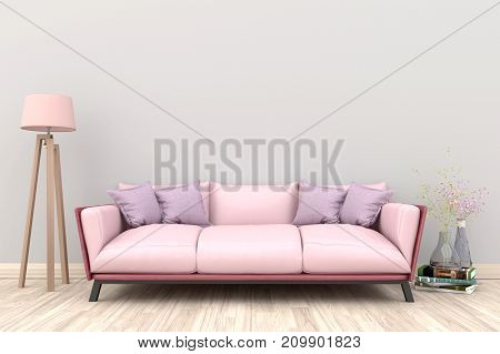 Minimal. White living room interior with pink fabric sofa, lamp, cabinet and plants on empty white wall background.3d rendering.