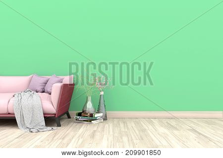Minimal. Green living room interior with pink fabric sofa, lamp, cabinet and plants on empty green wall background.3d rendering.
