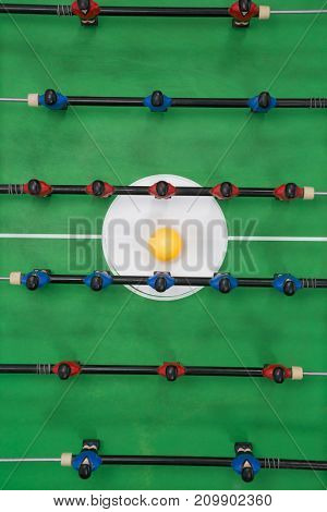 Overhead view of table soccer game
