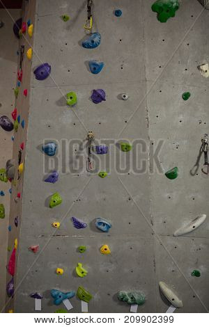 Full frame shot of climbing wall in fitness club
