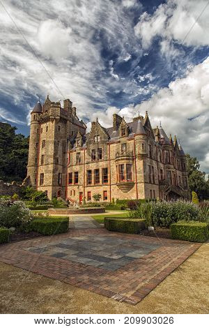 BELFAST NORTHERN IRELAND UK - AUGUST 24 2016: Belfast castle. Tourist attraction at Cavehill Country Park in Belfast Northern Ireland