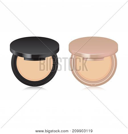 Set of makeup nude powder color in case. Opened box isolated on white background. Mock up template for your design