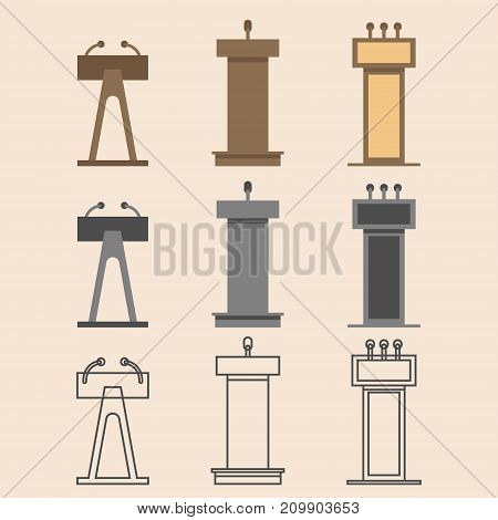 Flat vector design in icon set lectern symbol.