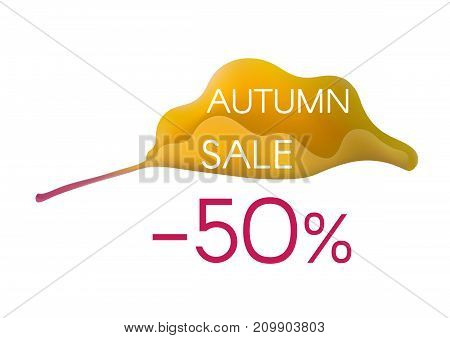 Autumn sale inscription on yellow cartoon leaf isolated on white background with indication of discount percentage