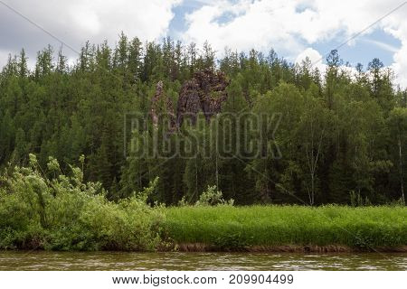 A tributary of the big river - Yenisey River. Krasnoyarsk region, Russia