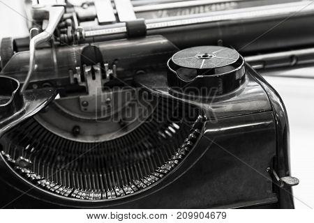 Old Manual Typewriter Machine, Black And White