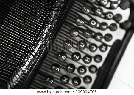 Old Manual Typewriter Machine, Close Up