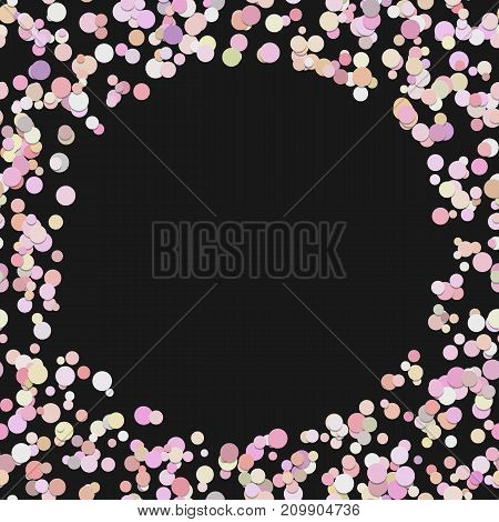 Color random dot background - trendy vector illustration from colorful circles in pink tones with shadow effects on black background