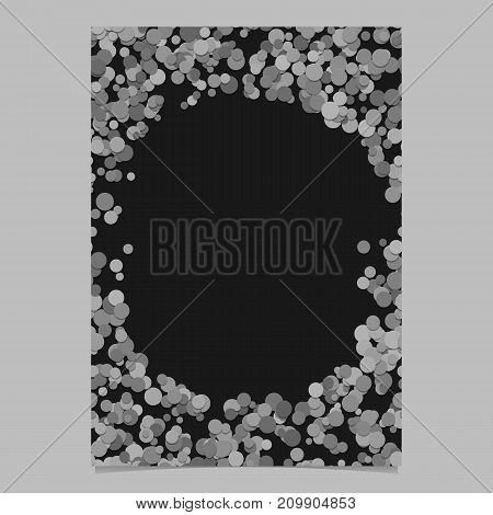 Geometrical chaotic dot pattern page background template - vector blank brochure border graphic from grey circles