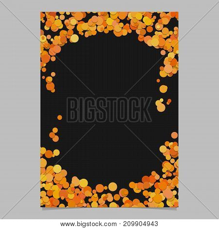 Abstract random dot design page template - trendy vector blank poster border graphic with orange color circles on black background