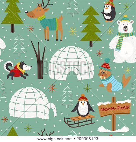 seamless pattern with arctic animals - vector illustration, eps