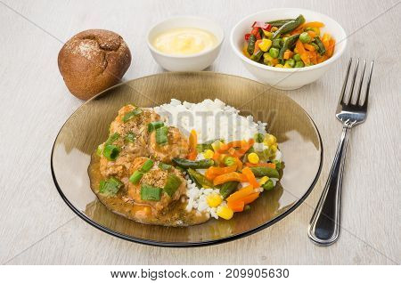 Meatballs With Sauce, Rice, Vegetables In Plate, Rye Bun, Mayonnaise