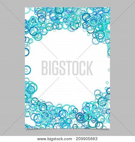 Abstract random circle pattern cover template - vector page background design from rings in light blue tones